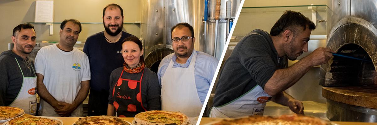 Addetti pizzaioli al lavoro